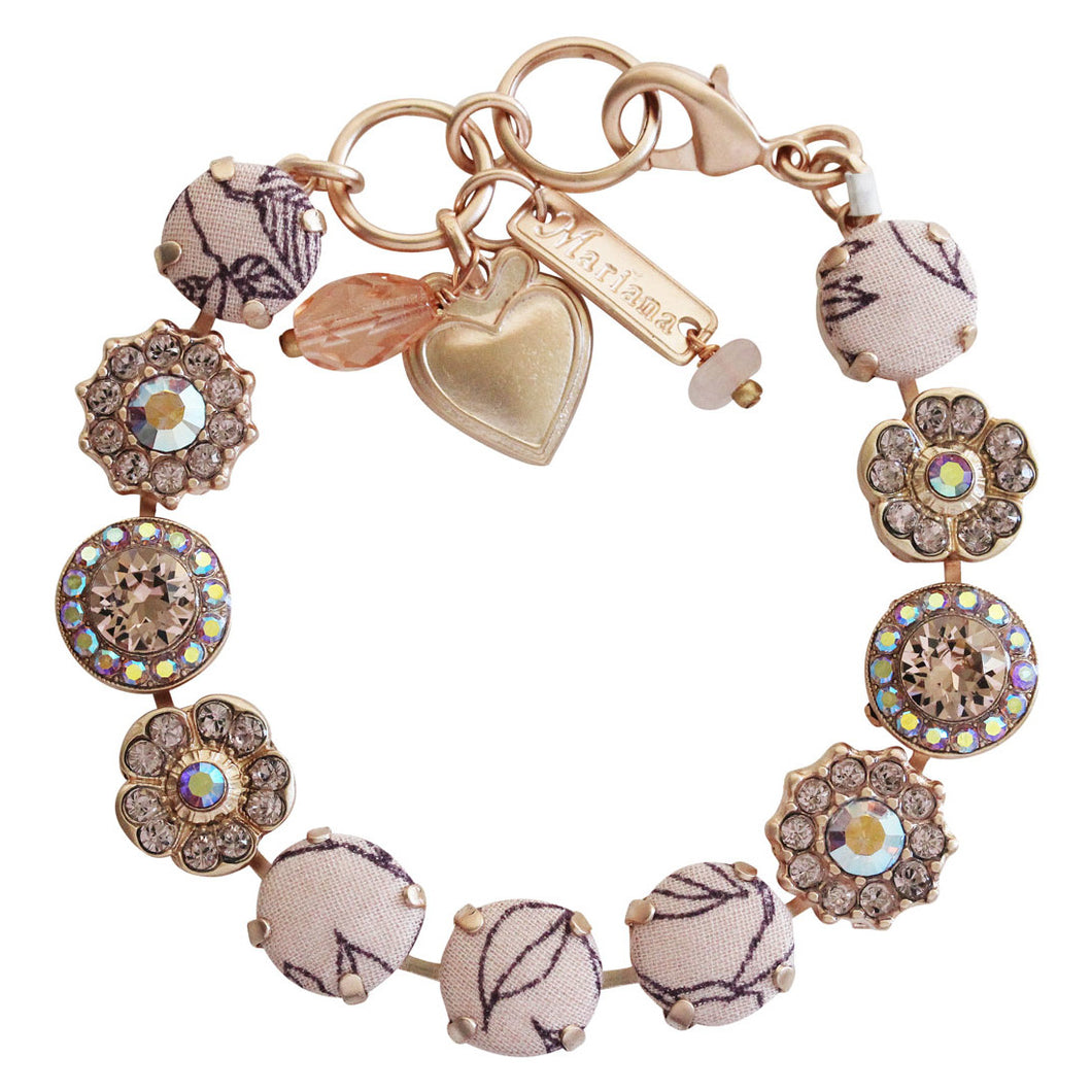 Mariana Fabric Flamingo Rose Gold Plated Large Floral Mosaic Swarovski Crystal Bracelet, 7
