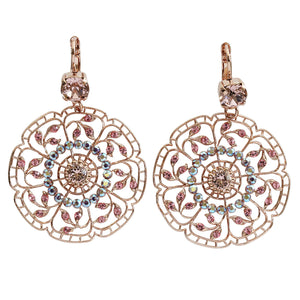 "Mariana ""Flamingo"" Rose Gold Plated Filigree Flower Floral Large Statement Swarovski Crystal Earrings, 1210 319mr"