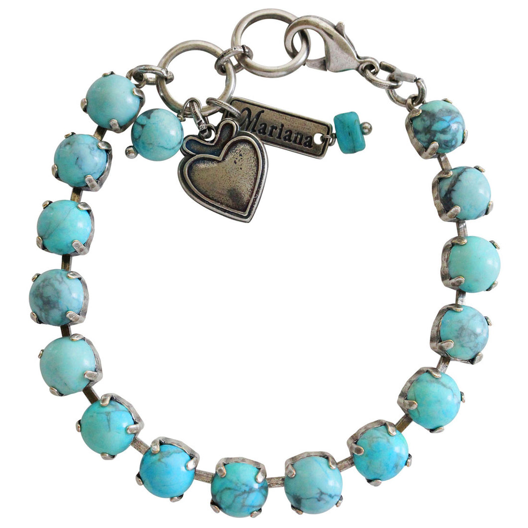 Mariana Turquoise Silver Plated Classic Shapes Swarovski Crystal Bracelet, 7