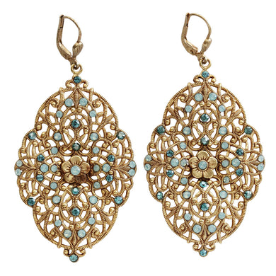 Catherine Popesco 14k Gold Plated Filigree Floral Scallop Ornate Large Statement Swarovski Earrings, 4920G Pacific Blue