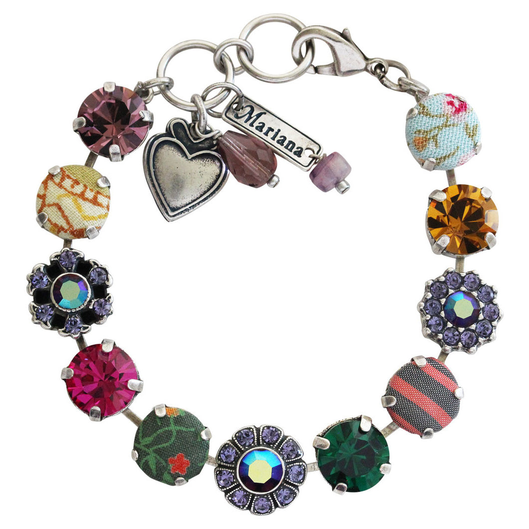 Mariana Crown Jewels Fabric Silver Plated Floral Mosaic Swarovski Crystal Bracelet, 7