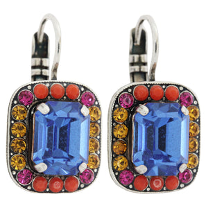 "Mariana ""Fantasy"" Silver Plated Rectangle Cushion Crystal Border Swarovski Earrings, 1040/1 1037"
