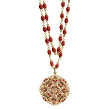"Catherine Popesco 14k Gold Plated Filigree Medallion Beaded Enamel Double Chain Swarovski Crystal Necklace, 21"" 1236G Spice"