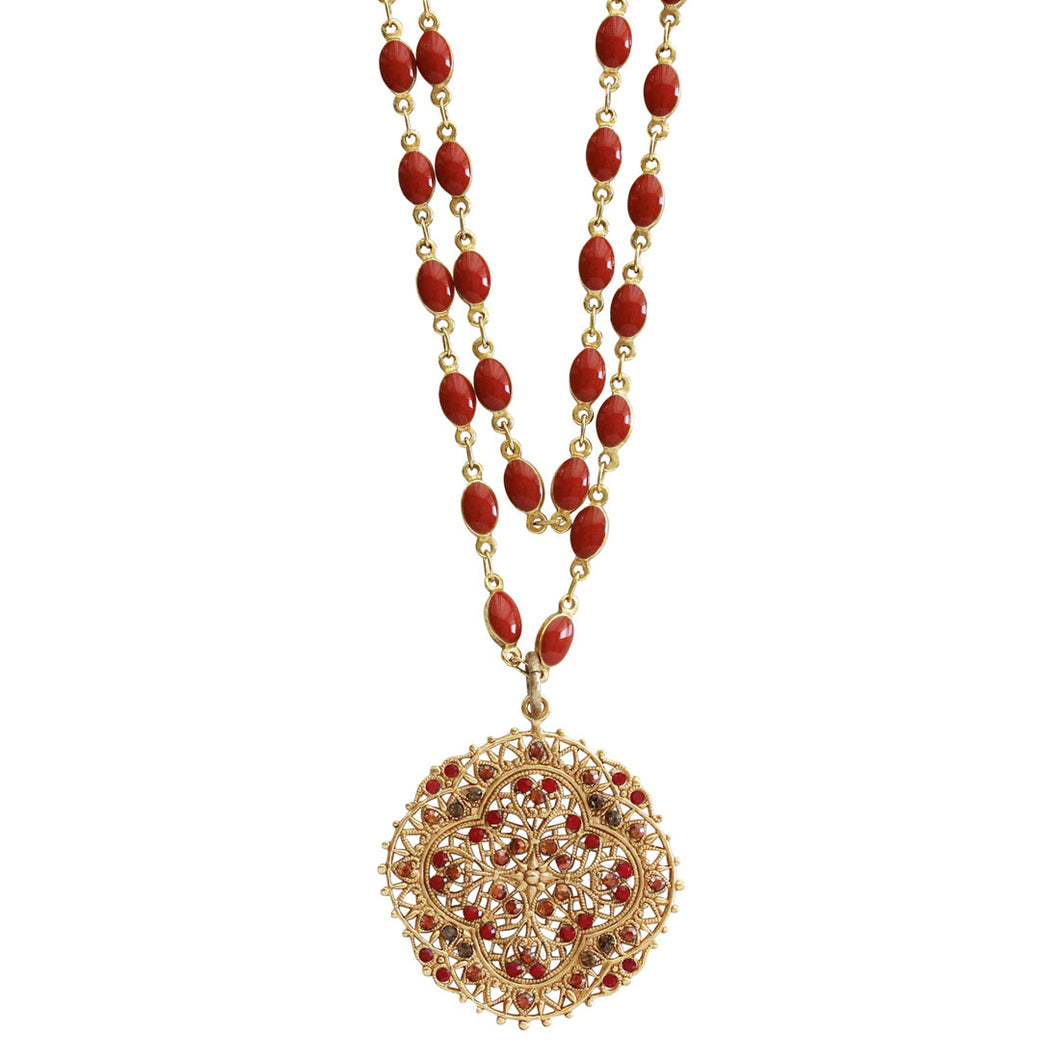 Catherine Popesco 14k Gold Plated Filigree Medallion Beaded Enamel Double Chain Swarovski Crystal Necklace, 21