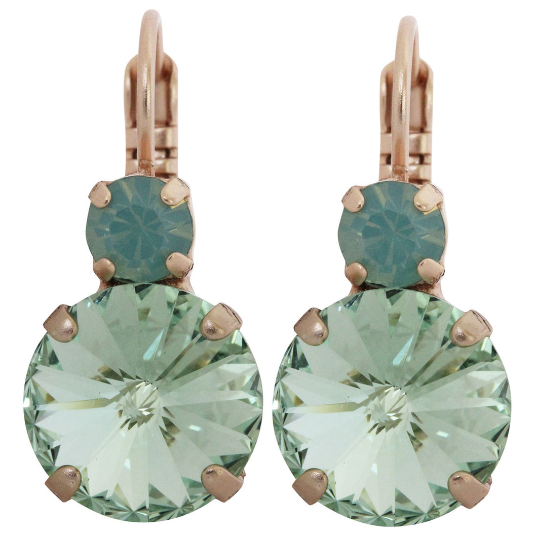 Mariana Rose Gold Plated Double Drop Rivoli Medium Crystal Earrings, Light Green 1037R 390238mr