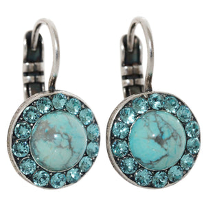 "Mariana ""Zambezi"" Silver Plated Round Disc Small Swarovski Crystal Earrings, 1129 m1082"