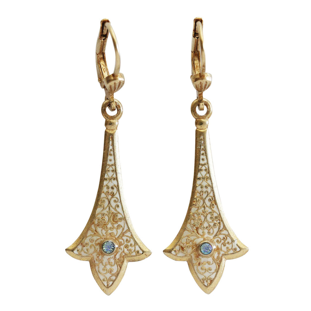 Catherine Popesco 14k Gold Plated Enamel Petite Spear Intricately Patterned Swarovski Earrings, 9596G White