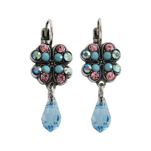 "Mariana ""Summer Fun"" Silver Plated Clover Dangle Swarovski Crystal Earrings, 1040/3 3711"