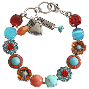 "Mariana ""Serengeti"" Silver Plated Large Flower Shapes Swarovski Crystal Bracelet, 7"" 4045/2 M1079"
