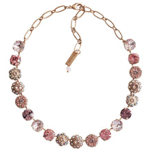 "Mariana ""Flamingo"" Rose Gold Plated Large Round Floral Statement Swarovski Crystal Necklace, 17.5"" 3284 319mr"