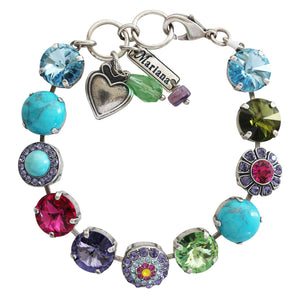 "Mariana Cuba Silver Plated Rivoli Mosaic Swarovski Round Floral Large Statement Bracelet, 7.25"" Multi Color Purple Blue Green Fuchsia 4247/1 M333-1"
