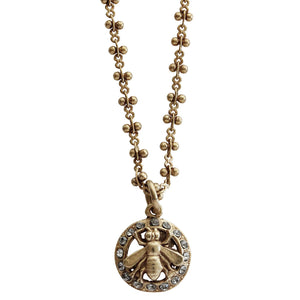 "Catherine Popesco 14k Gold Plated Bee Petite Pendant Beaded Chain Swarovski Crystal Necklace, 16.5"" 1277G Gray"
