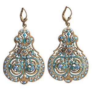 Catherine Popesco 14k Gold Plated Enamel Contessa Ornate Scroll Statement Chandelier Earrings, 3012G Blue Iridescent
