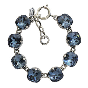 Catherine Popesco Sterling Silver Plated Crystal Round Bracelet, 1696 Midnight