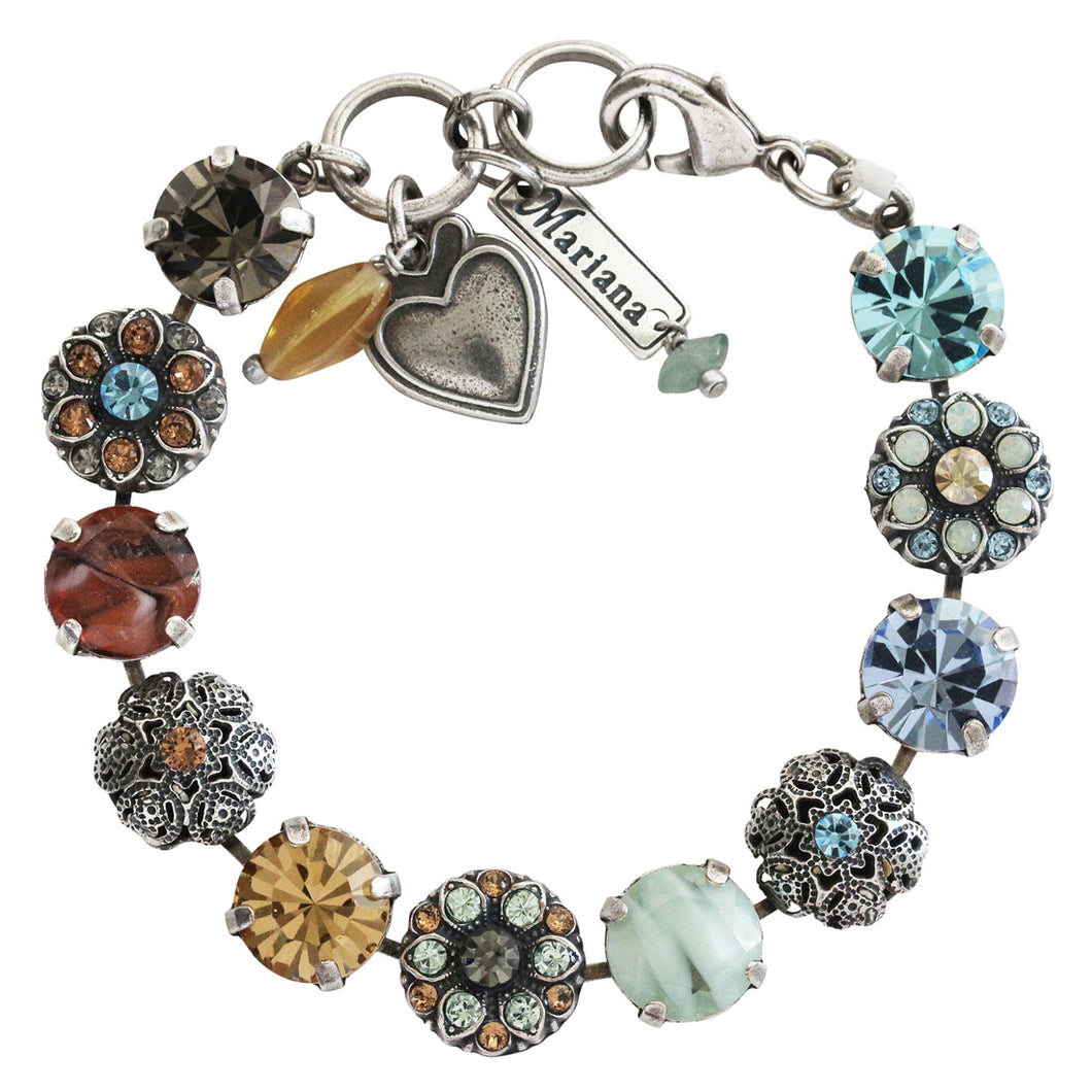Mariana Forget Me Not Silver Plated Filigree Floral Statement Swarovski Crystal Bracelet, 7