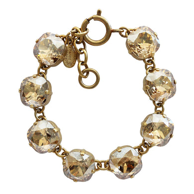 Catherine Popesco 14k Gold Plated Crystal Round Bracelet, 1696G Champagne