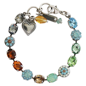 "Mariana Forget Me Not Silver Plated Oval Floral Mosaic Swarovski Crystal Bracelet, 7"" Multi Color Fall Autumn 4416 1329"