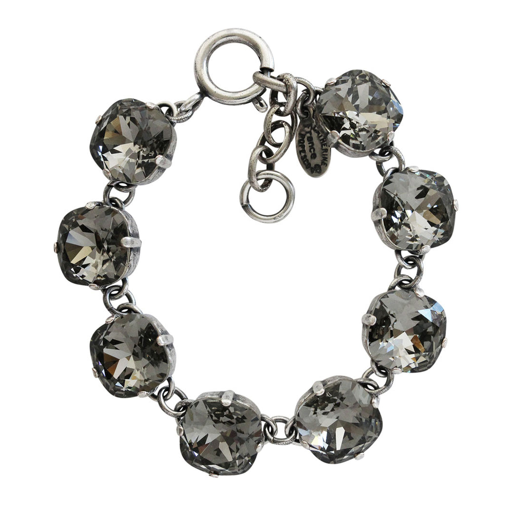 Catherine Popesco Sterling Silver Plated Crystal Round Bracelet, 1696 Black Diamond