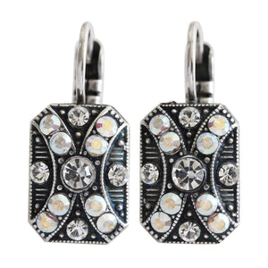 "Mariana ""On A Clear Day"" Silver Plated Rectangle Patterned Swarovski Crystal Earrings, 1080/2 0011AB"