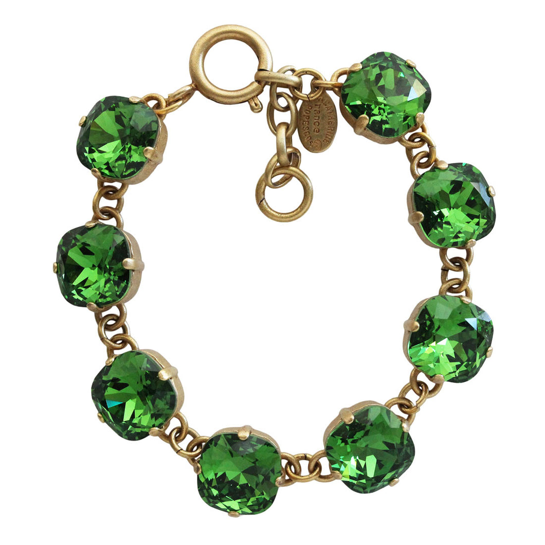 Catherine Popesco 14k Gold Plated Crystal Round Bracelet, 1696G Fern Green