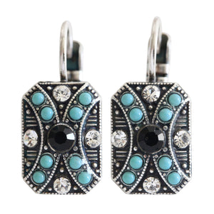 "Mariana ""Zanzibar"" Silver Plated Rectangle Patterned Swarovski Crystal Earrings, 1080/2 1081"