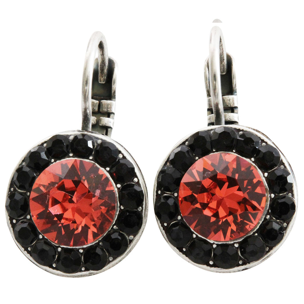 Mariana Pomegranate Silver Plated Round Disc Small Swarovski Crystal Earrings, 1129 1045