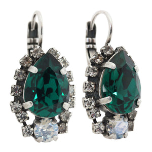 Mariana Green with Envy Silver Plated Teardrop Surrounding Swarovski Crystal Earrings, 1259/1 205001