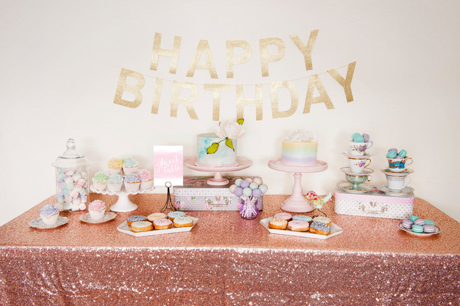 A Spring Pastel Themed Dessert Table