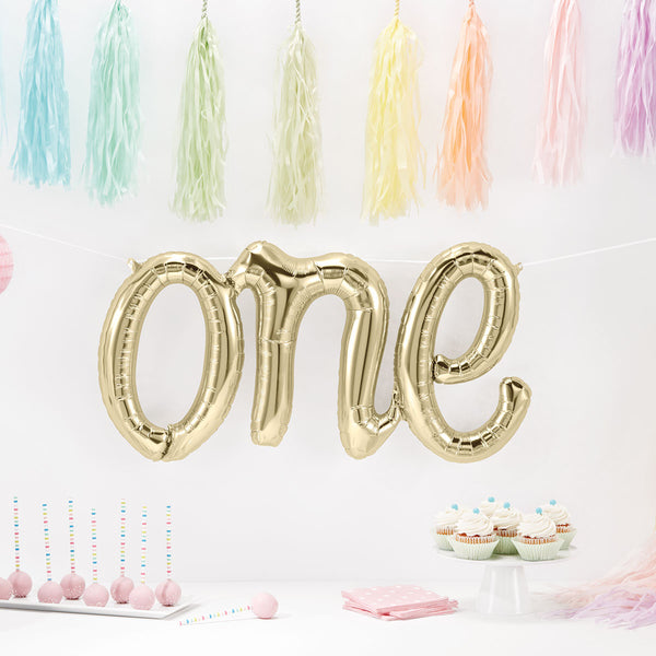 Gold One Script Balloon