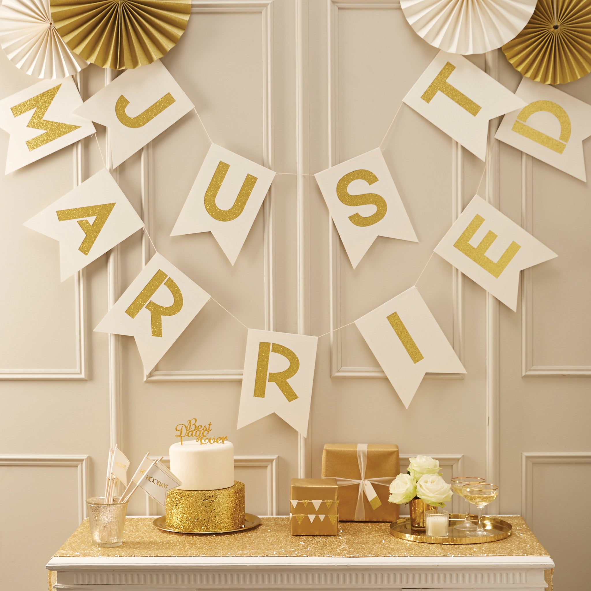 Ivory & Gold Just Married Bunting