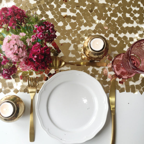 Antique Gold Sequin Chip Table Runner
