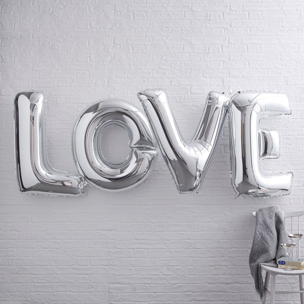 "Large Silver LOVE Balloon 36"" Bunting"