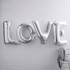 Jumbo SILVER LOVE Foil Balloons - The Sweet Hostess