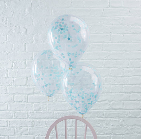 Blue Confetti Filled Balloons 5 Pack