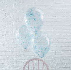 Blue Confetti Filled Balloons 5 Pack - The Sweet Hostess  - 1