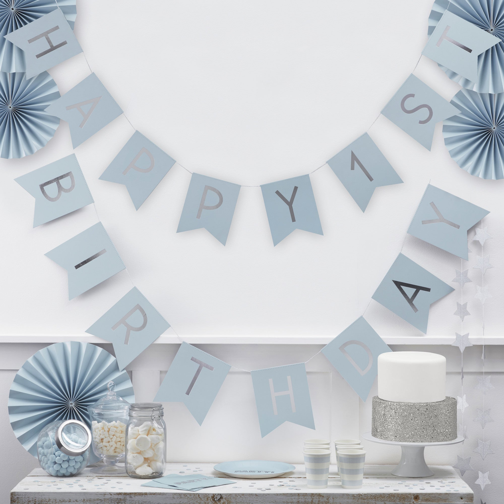 Happy 1st Birthday Blue & Silver Bunting - The Sweet Hostess