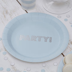 Blue & Silver Foil PARTY Plates - The Sweet Hostess  - 1