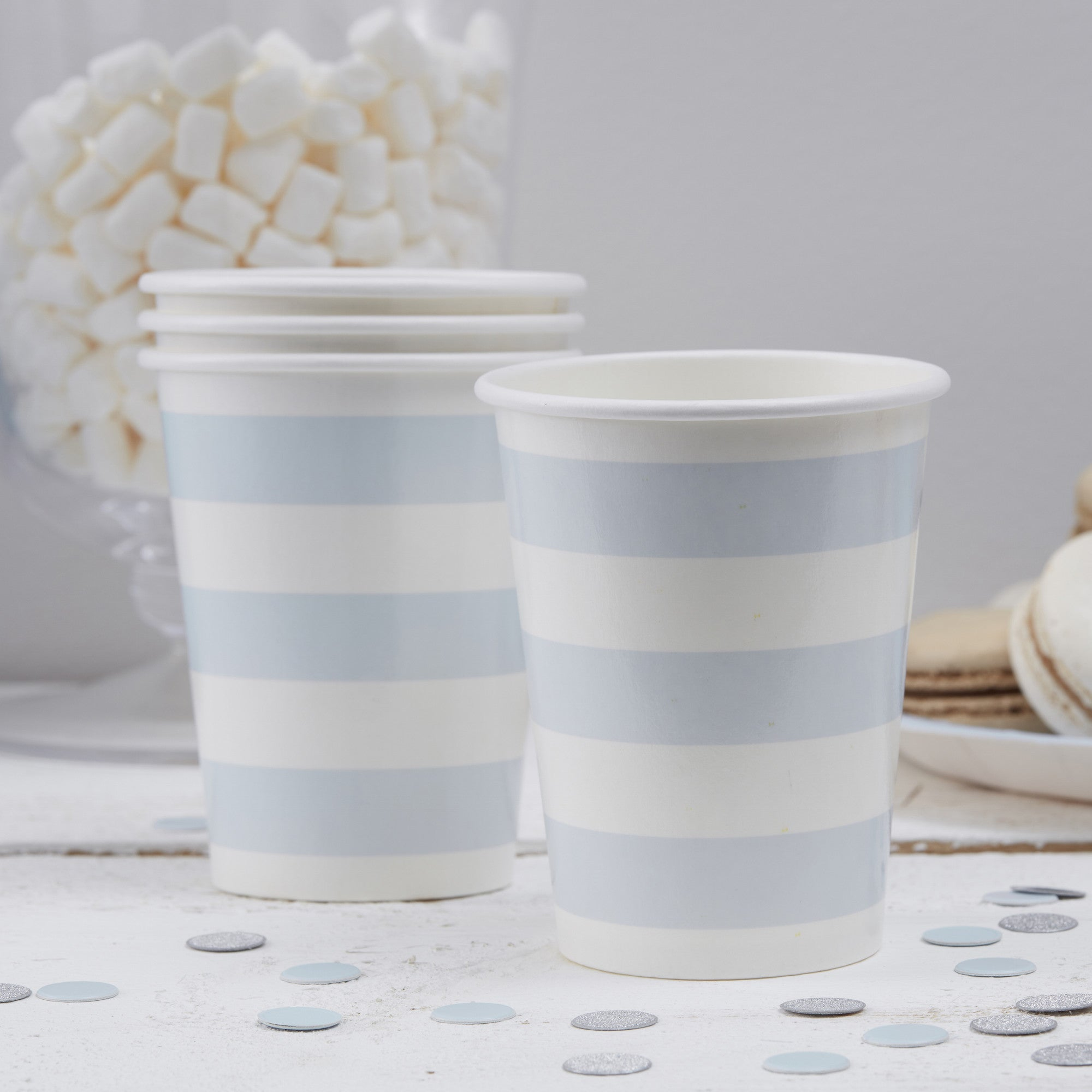 Baby Blue Stripe Paper Cups - The Sweet Hostess
