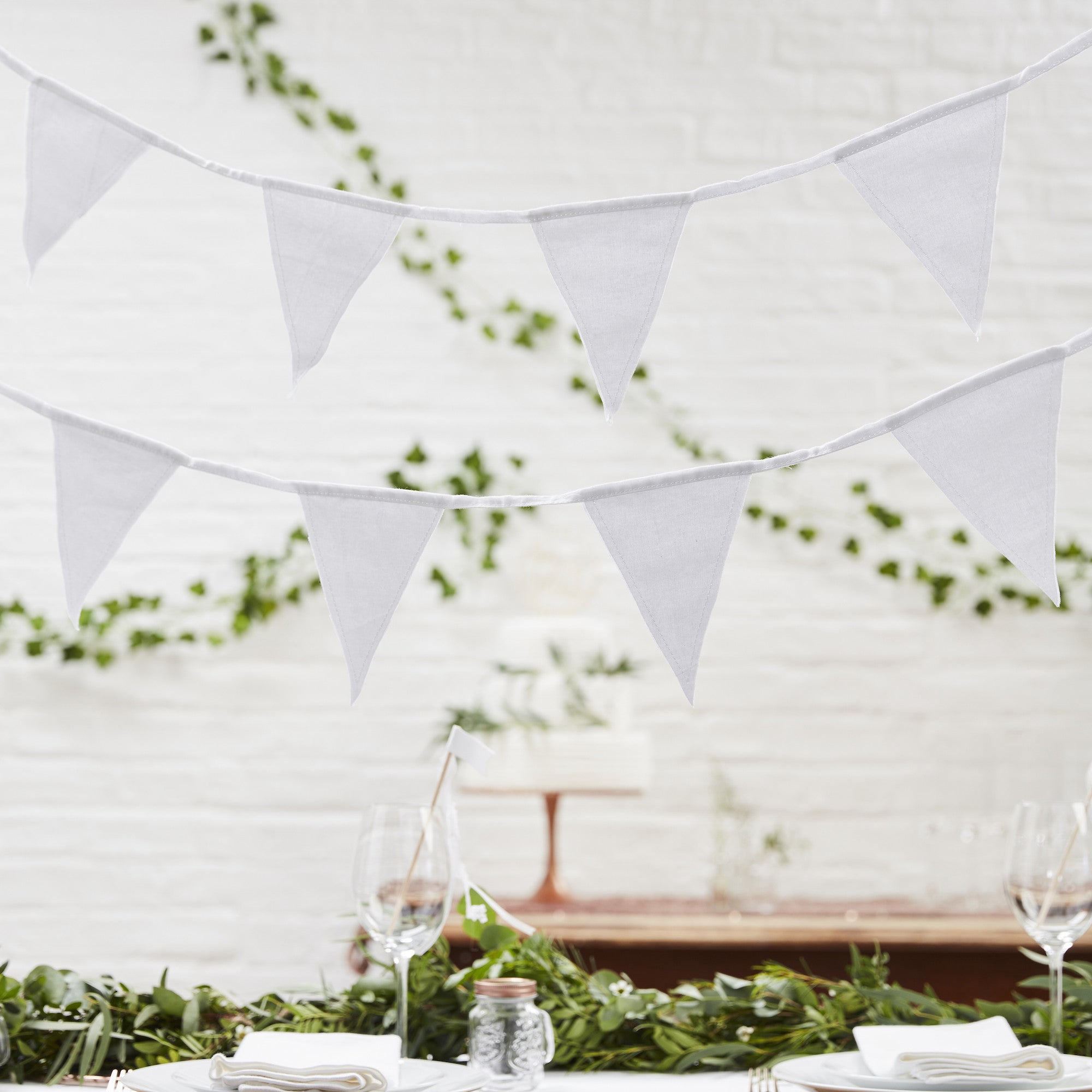 White Fabric Bunting - The Sweet Hostess
