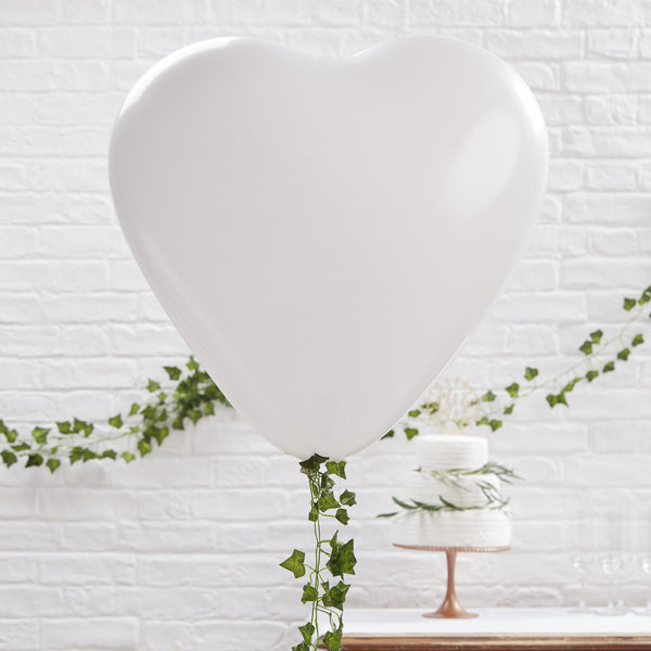 Large White Heart Balloons 3 Pack