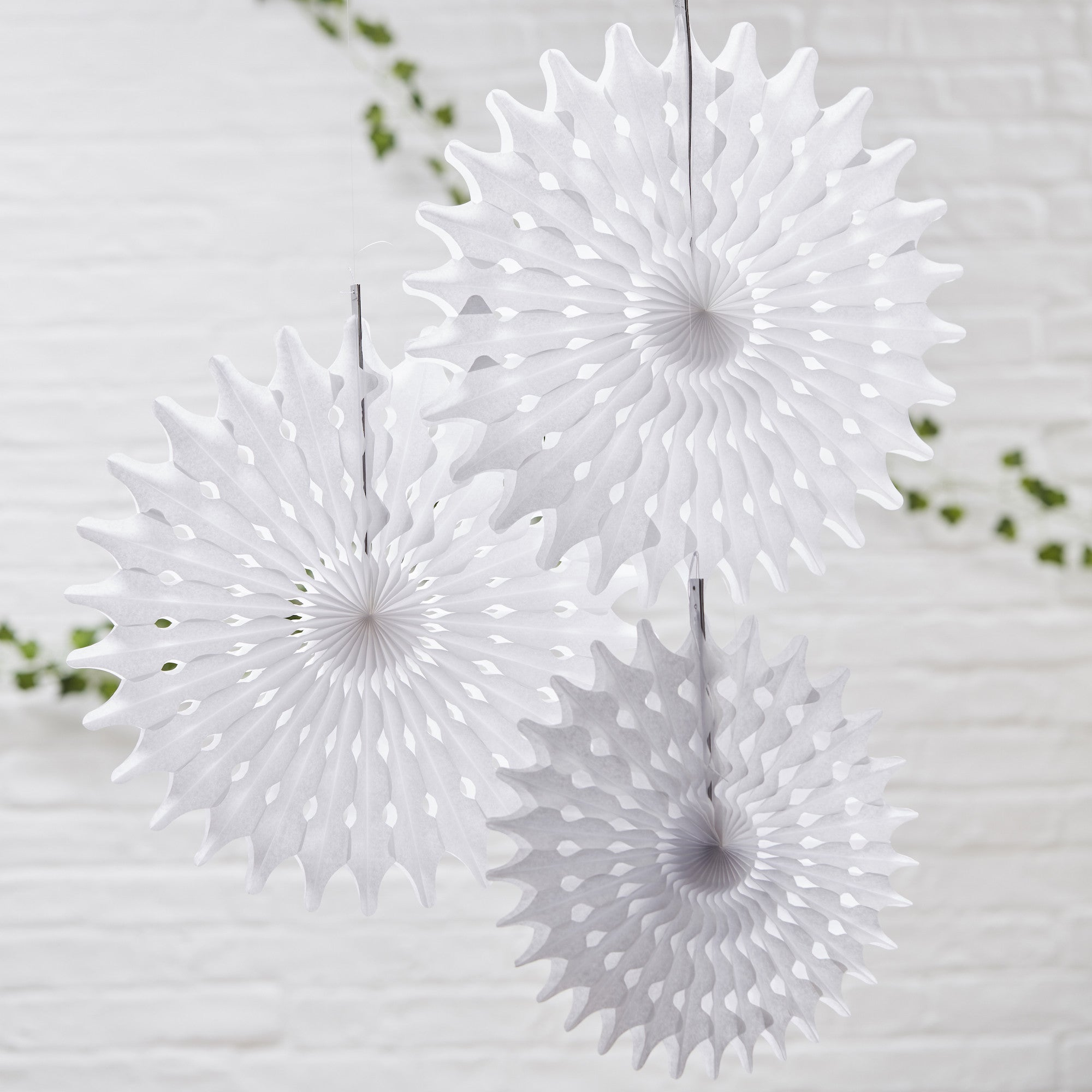 White Tissue Hanging Fan Decorations - The Sweet Hostess