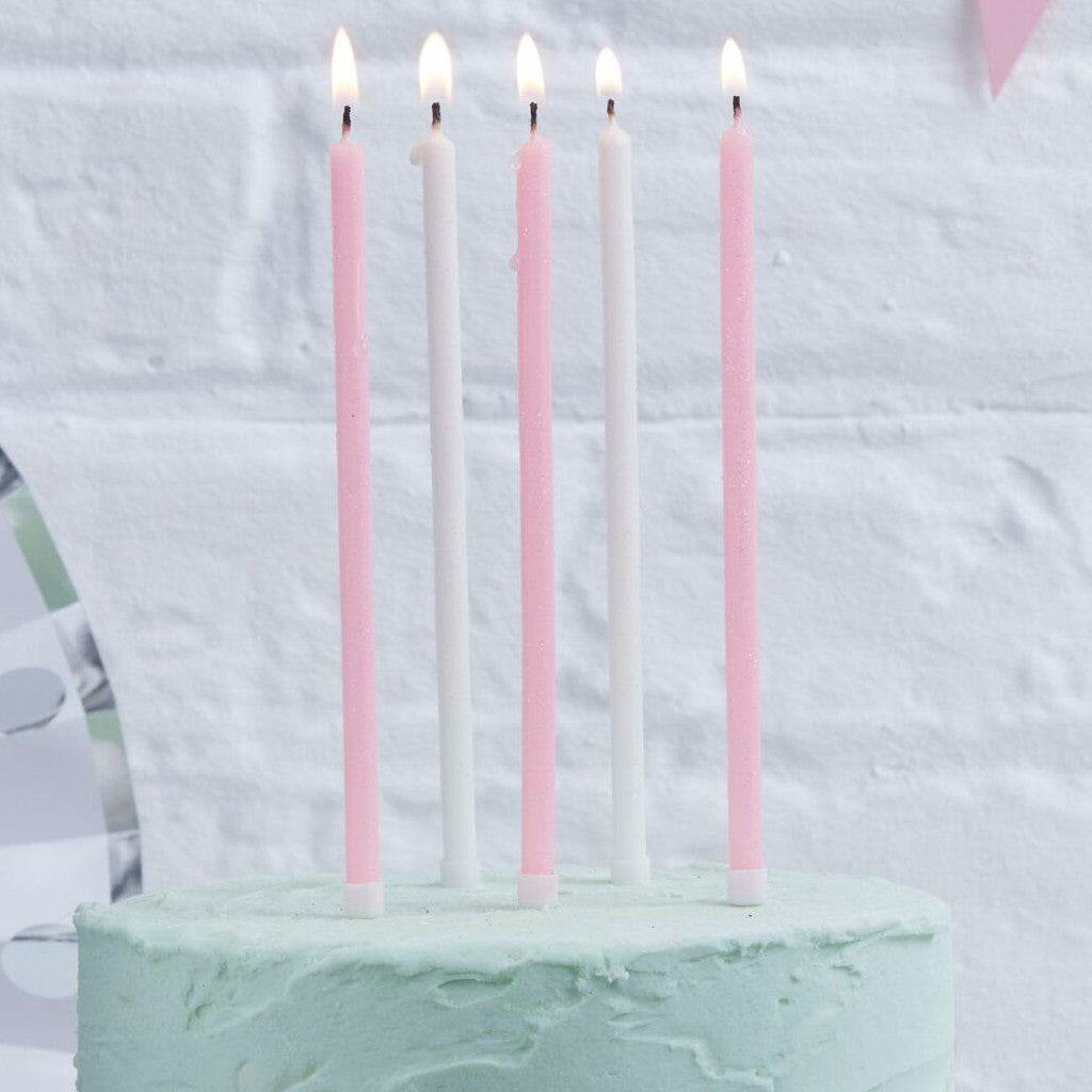 Pink and White Tall Birthday Candles 24 Pack