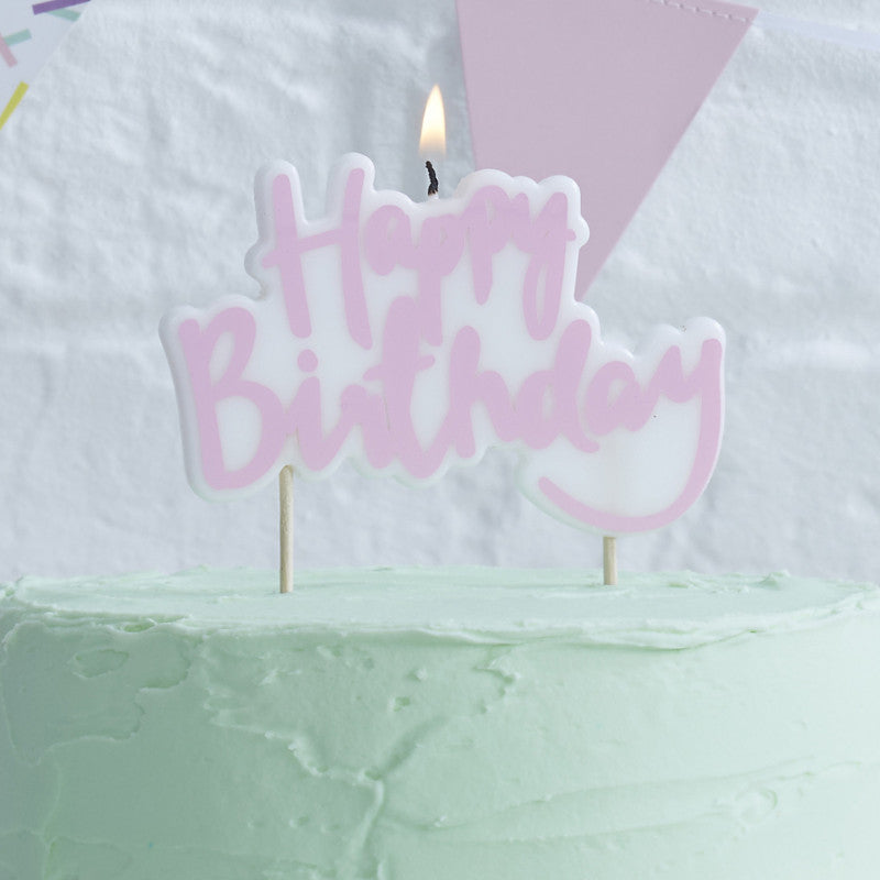 Pink Happy Birthday Candle - The Sweet Hostess  - 1