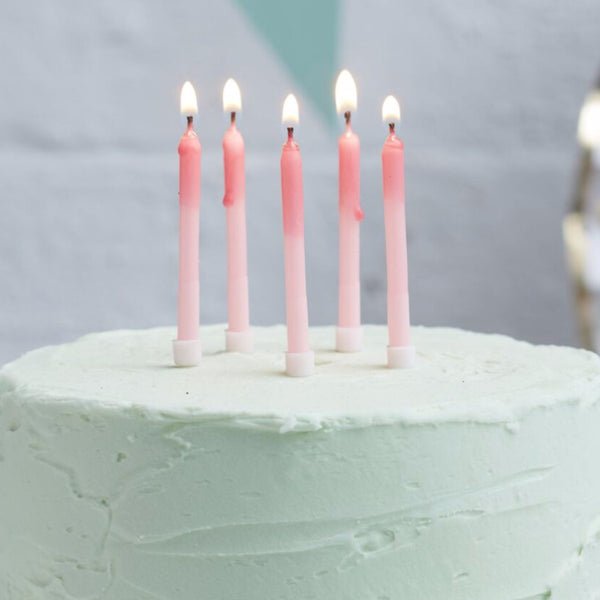 Pink Ombre Birthday Candles 24 Pack