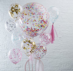 Pink Confetti Filled Balloons 5 Pack - The Sweet Hostess  - 3
