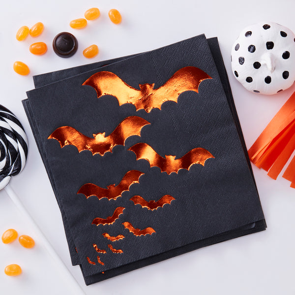 Orange Foiled Bat Design Paper Napkins