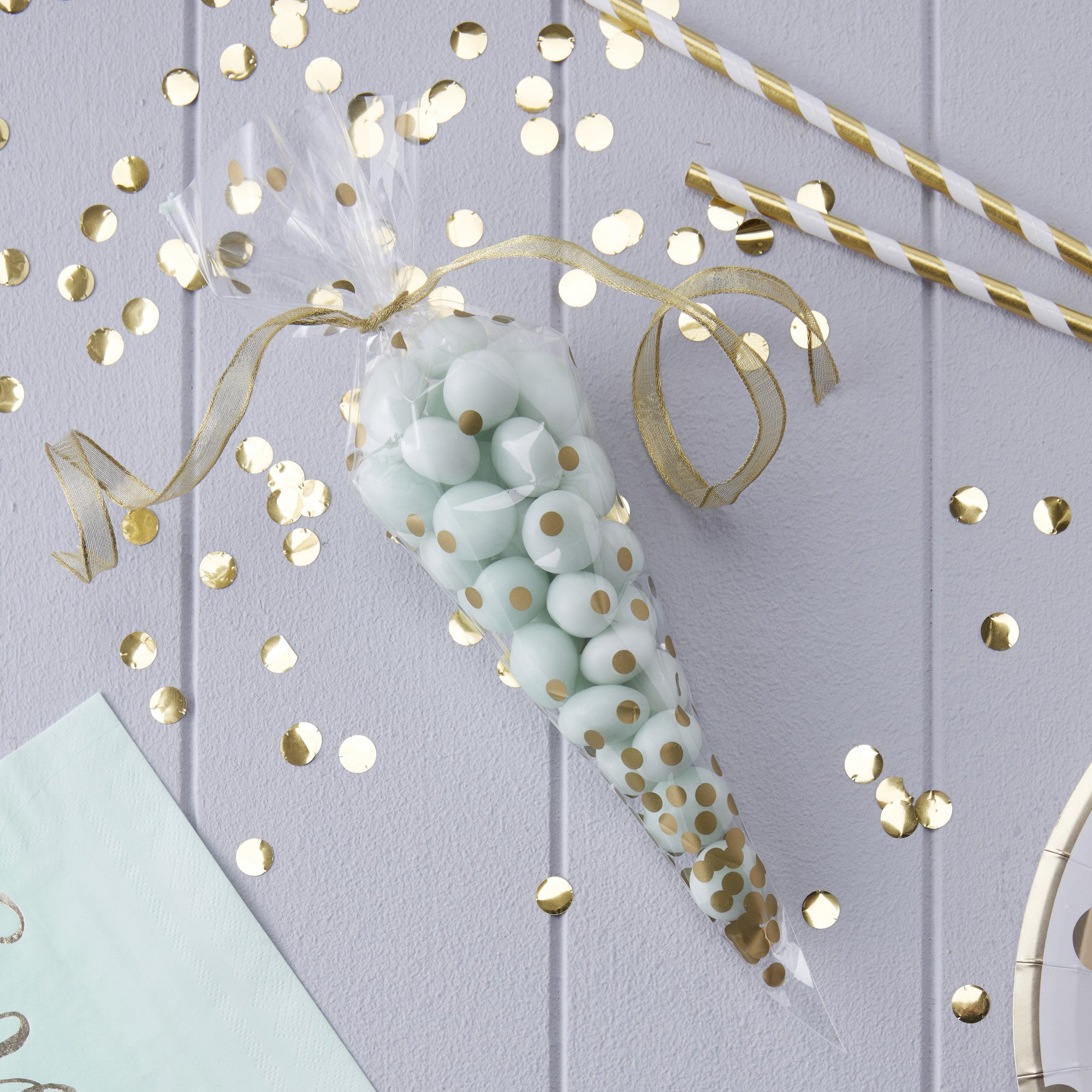 Clear Gold Polka Dot Cone Party Bags