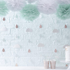 Rose Gold Raindrop & Clouds Backdrop - The Sweet Hostess