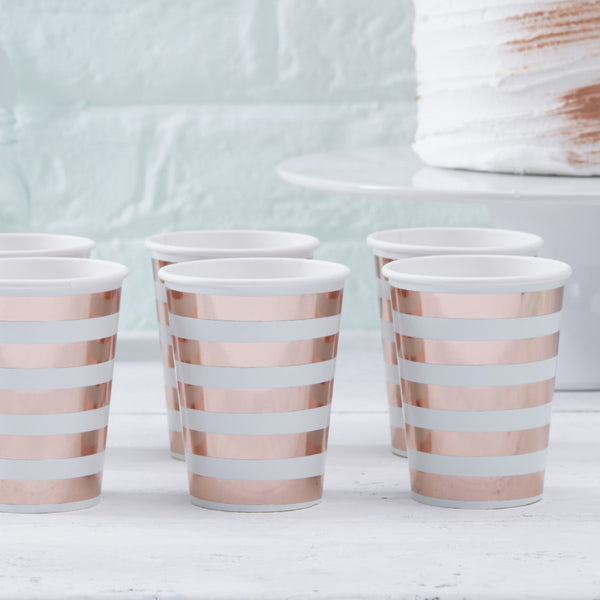 Mint and Rose Gold Stripe Paper Cups