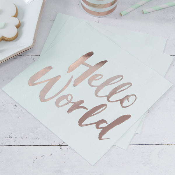 Hello World Mint and Rose Gold Paper Napkins
